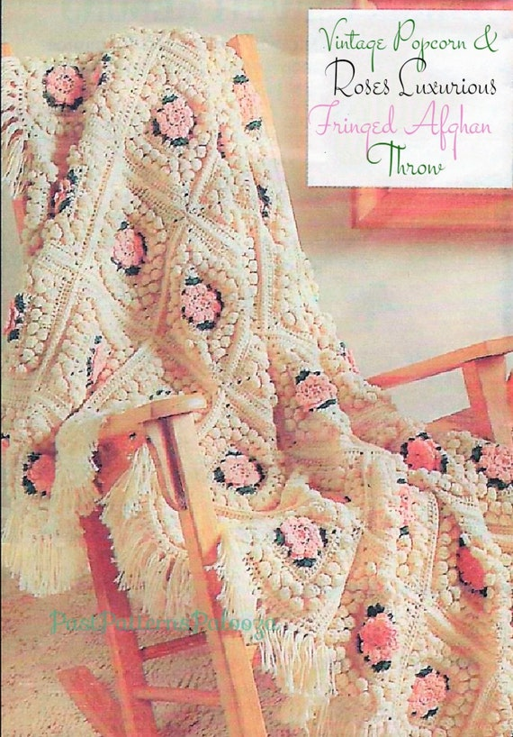 Vintage Crochet Pattern Floral Popcorn Granny Squares Afghan