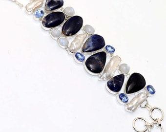 Sodalite , Rainbow moonstone , Biwa Pearl , Topaz Quartz  HANDMADE 925 Silver Plated Cluster Bracelet B619