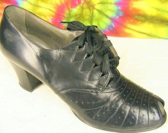 6-6.5 vintage 40's lace-up peep-toe oxfords ENNA JETTICS black leather granny shoes NOS
