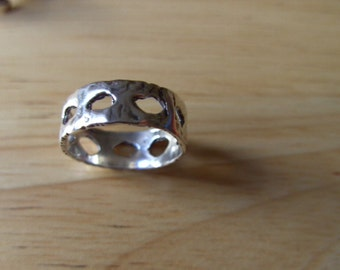 Unique ring, solid sterling silver,hand made  size Q-R