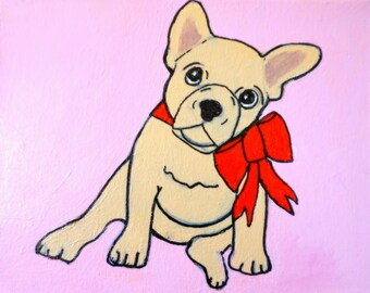 Bulldog Puppy on Pink 8 x 10""