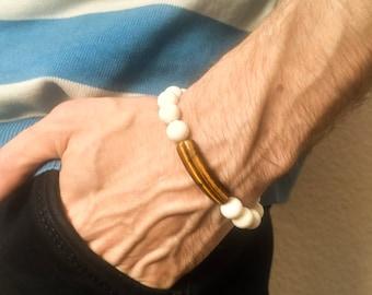 Coral Bracelet Mens Tiger Eye Bracelet Surfer Bracelet Mens Summer Bracelet White Coral Jewelry Chakra Bracelet Tiger Eye Jewelry