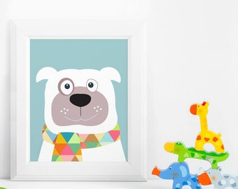 Nursery decor, Dog nursery kids art prints, animal prints, baby nursery decor, baby room decor, kids wall art, nursery art, nursery wall art