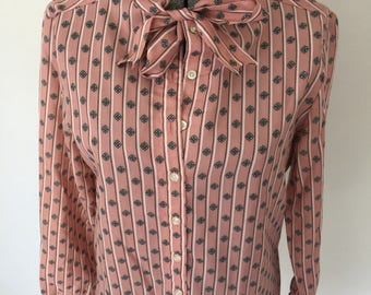 Vintage LEVI STRAUSS & CO. Blouse •1970s Womens Clothing • Medium Tie Neck Button Up Shirt Long Sleeve Floral Print Striped Mauve Pink Rose