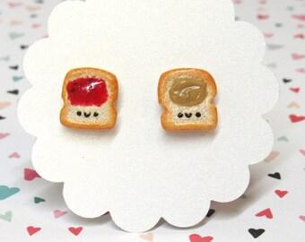 Peanut Butter Jelly Earrings, Cute Earrings, PBJ, Food Earrings, Mismatch Earrings, Hypoallergenic, Nickel Free Posts, Your Color Choice
