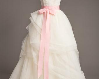 "Heart Pink WeddingSash - 2"" - Romantic Luxe Grosgrain Ribbon Sash - Wedding Belt, Bridal Sash, Bridal Belt - Wedding Dress Sash"