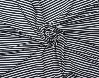 """Black Off White 1/8"""" Stripe Fabric Rayon Spandex Jersey Knit by the Yard #2 5/16"""