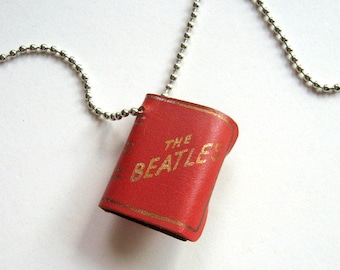 Beatles Leather Book Necklace - 1960's, Photo necklace, Beatle jewelry, Red, Ball chain, Collectible, Rock Memorabilia, Beatles fan, Rare