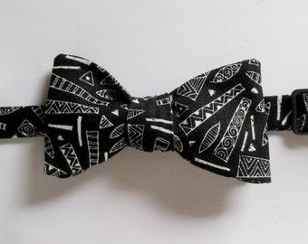 Mens bowtie  - Black and white graphic design - 100%cotton