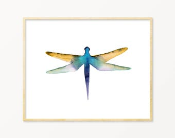 Dragonfly Art Print. Nature Wall Art. Forest Nursery Art. Blue & Yellow Watercolor Dragonfly Art. Blue Nursery Decor. Modern Nature Painting