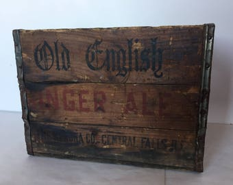 Rare Soda Crate Old English Ginger Ale from Kerona Co Central Falls Rhode Island