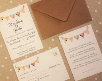 Rustic Vintage Bunting Invitation Bundle - Invitation, RSVP & Gift Wish