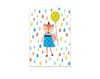 Party Fox Girl Post Card- Postcrossing, Art card, Snail Mail, Birthdary Card, Invitation