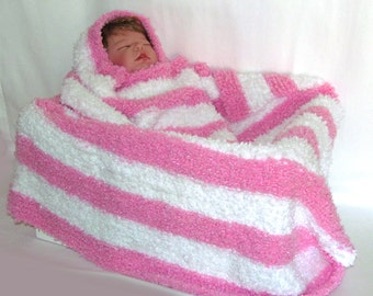 Pink and White Baby Blanket, Super Soft Pink Baby Blanket, Pink Baby Blanket, Pink & White Baby Gift, Pink and White, Baby Girl Gift
