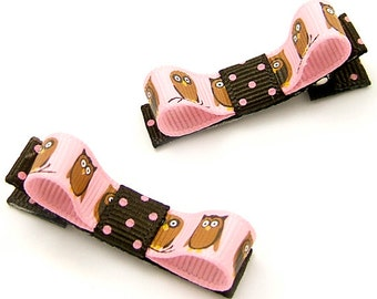 Pink Owl Tuxedo Bows, Owl Hair Clips for Baby Girls Toddlers Pink Brown Polka Dots Woodland Kawaii