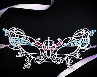 White Lace Masquerade Mask, Elegant jeweled Lace Mask, womens mask Rhinestones, Lace Mask for Masquerade Ball