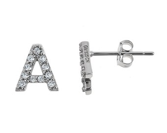 925 Sterling Silver Classic CZ Studded Initial Earrings