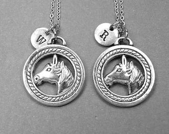 Best friend necklace, horse necklace, horse charm, horse jewelry, bff necklace, friendship jewelry, personalized necklace, initial necklace