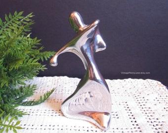 Moderne Skulptur von HOSELTON, Silber Stahl Metall Geiger oder Geige Spieler Figur