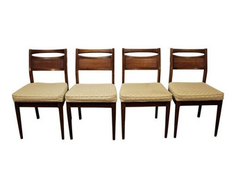 Set of 4 Mid-Century Modern American of Martinsville Caned Walnut Dining Chairs