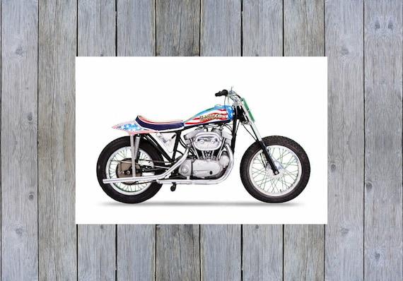 Vintage Evel Knievel In His: Evel Knievel Vintage Ironhead Harley Davidson Stunt Motorcycle