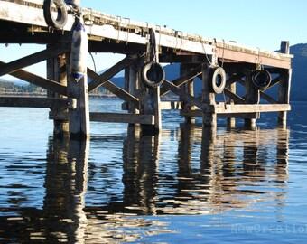 New Zealand water reflections print, Lake Te Anau wharf photo for NZ nature lover