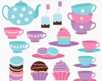 Tea Party Clipart, Kitchen, Teacup, Teapot, Tea, Morning Tea, Cupcakes, Macarons, Teabags, Cake, Party Clip Art - Commercial & Personal