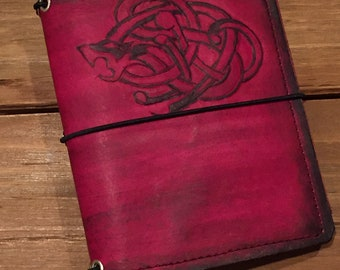 Handcrafted Celtic/Norse Dragon Passport Size 4-Strand Traveler's-style Notebook