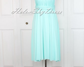 Bridesmaid Convertible Dress Infinity Dress Multiway Wrap Dress Prom Maxi short Dress mint green keen Length