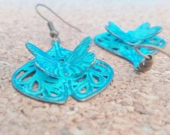 BUTTERFLY EARRINGS, Butterfly Jewelry ,Butterfly, Turquoise Butterfly Earrings,Brass Butterfly Earrings,Bronze earrings,Brass Jewelry