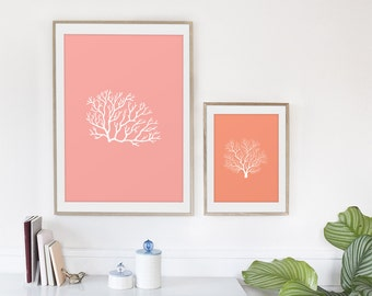 Coral Print, Coral Print Set, Coral Home Decor - Pink and Salmon 8x10