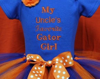 Florida Gators, Florida, Gators, baby shower gift, baby girl gift, new baby gift, baby girl clothes, blue, orange, baby tutu, bodysuit, UF