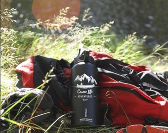 Canoe, Canoe Life, Lake, Hiking, Camping, Happy Camper gift, Water bottle, Flask, Stainless steel Growler, FiftyFifty, 40oz, Travel