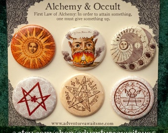 Alchemy & Occult Pinback Button Set - pins badges sun moon lunar phases unicursal hexigram pentacle pentagram supernatural demon Solomon