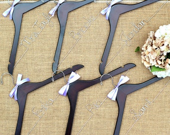 Set of 6 Personalized Bridal Hangers, Customized Hangers, Wedding Party Hangers, Gifts