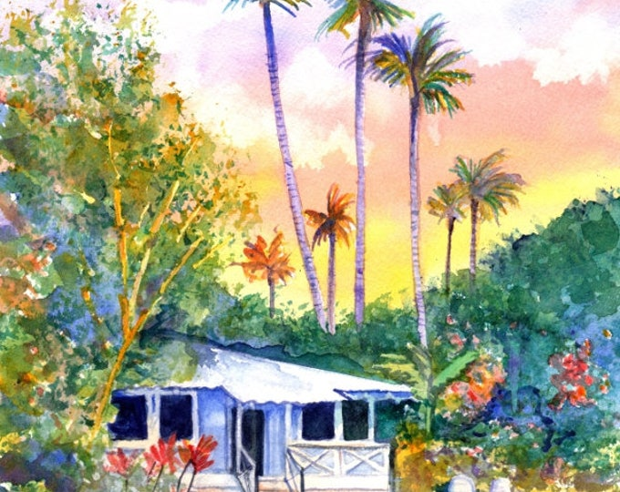 Blue Kauai Cottage Original Watercolor Painting from Hawaii Hawaiian kauaiartist plantation cottages whimsical tropical art sunset vacation