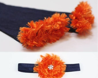 Navy and Orange Denver Broncos Baby Toddler Leg Warmers and Headband