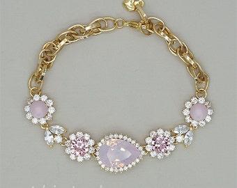 Pink Opal Bracelet, Gold Bridal Bracelet, Pink Wedding Bracelet Swarovski  Jewelry for Brides, Pink Crystal Jewelry, Rose Water Opal