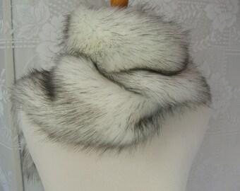 Faux Fur Scarf,  Russian Husky Faux Fur Scarf, Women's Long Fur Scarf