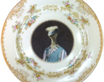 Ostrich Sally, School Portrait Plate 7.75""