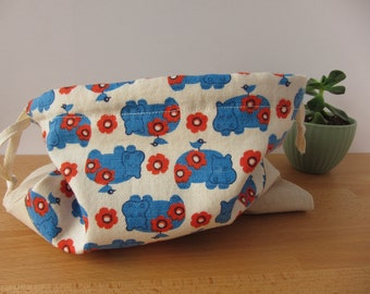 Vintage Hippo Drawstring Project Bag