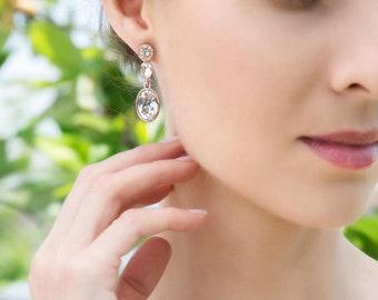 Rose Gold Earrings Wedding Jewelry Crystal Earrings Long Earrings Wedding Earring Rose Gold Jewelry Bridal Accessories Drop Earrings E349-RG
