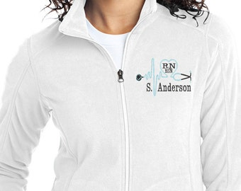 Monogram Stethoscope Fleece Jacket - Nurse Fleece Full Zip Jacket - RN Monogram Apparel - White Jacket - Plus Size Jacket - Ladies Fleece