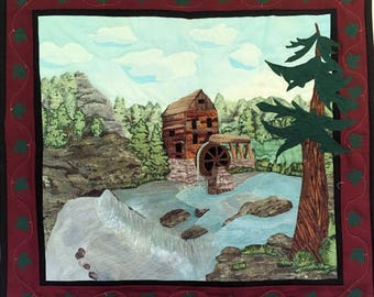 The OLD GRIST MILL a fiber art wallhanging landscape with  creek and waterfall