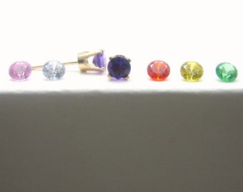 Cubic Zirconia14K Gold Stud Earrings - CZ - Green - Orange - Pink - Purple - Yellow - Gold Earrings - 3 mm - 4 mm - 5 mm - Post Earrings