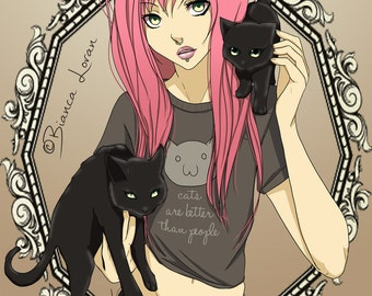 "Cats are Better Than People Art Print - 8""x10"" or 11x14"" - original anime manga art cat lovers girl - Bianca Loran Art"