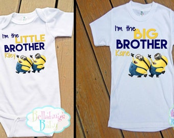 Minion Big Brother Little Brother Outfit - Bodysuit or Tshirt - Photo prop - Newborn