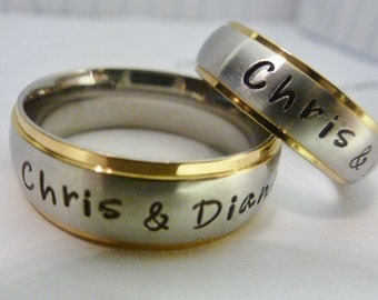 His & Her matching rings, Personalized Rings, Wedding bands, Promise Rings, Couple's Rings, Hand Stamped rings,  custom wedding bands