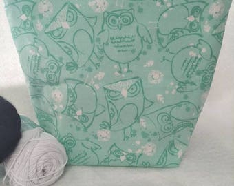 Project Knitting Yarn Craft Bag/Small Project Storage Bag Owls