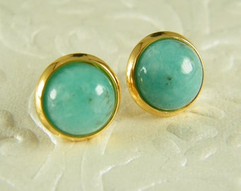 Blue gold earrings, Amazonite Post earrings, Gold filled earrings, Gem stone stud earrings, Bridesmaid earrings, Gift for her, Boho earrings